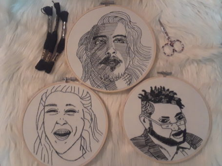 Hand Embroidered portraits: individual, couple, family